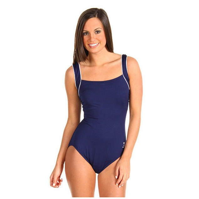 WMNS TYR Solid Square Neck Tank Suit One-Piece Navy Blue SZ: 6