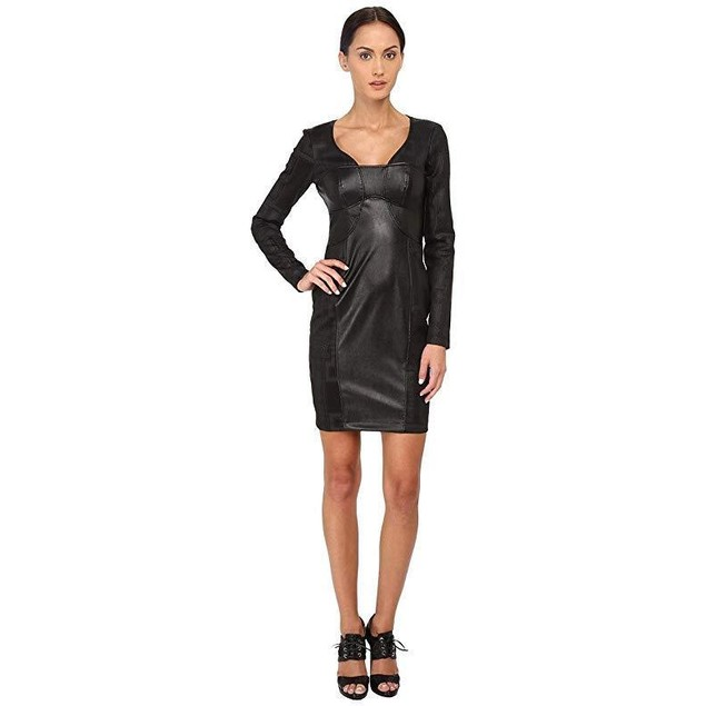 Versace Jeans Women's Long Sleeve V-Neck Cocktail Dress Nero 42 (US 6)
