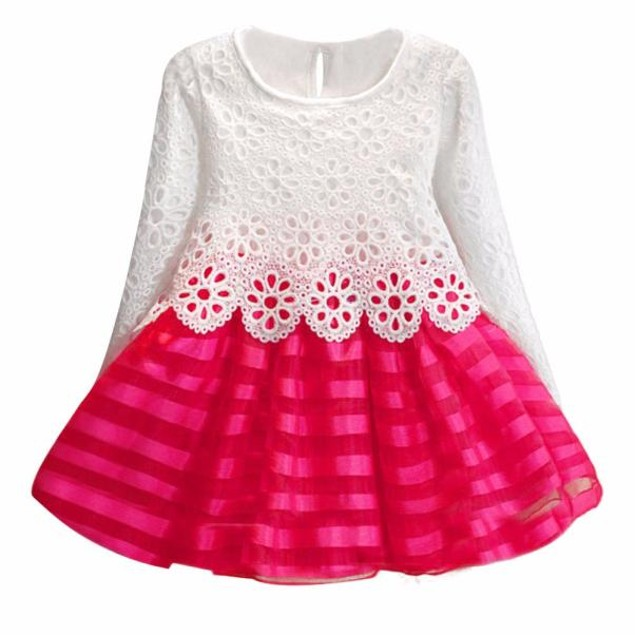 Girls Long Sleeve Princess Dress Hollow Flower Girl Dress