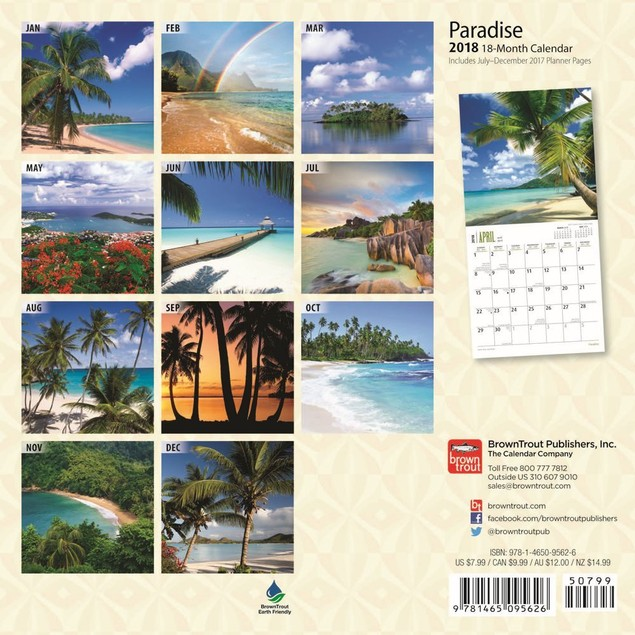 Paradise Mini Wall Calendar, Beaches by Calendars