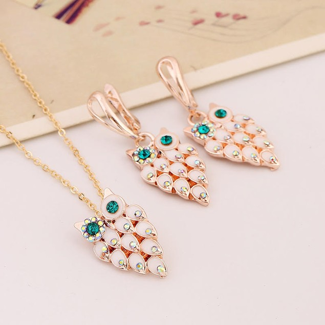 Owl Tier Earring and Necklace Set