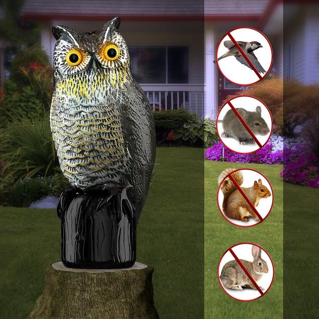 Motion Activated Premium Bird Repellent Fake Owl Decoy 16 in. Tall