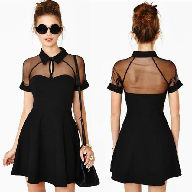 Girls Black Lapel Short Sleeve Chiffon Slim Evening Party Mini Dress