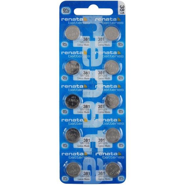 Renata 381 (SR1120SW) Silver Oxide Watch Batteries (10 Pack)