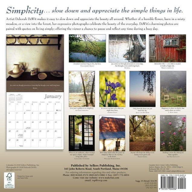 Simplicity Wall Calendar, More Inspiration by Sellers Publishing