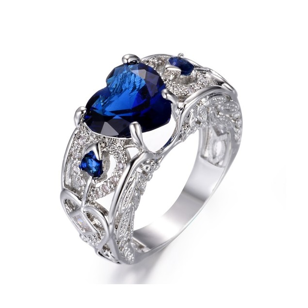 2.00 CTW Heart Simulated Sapphire Ring