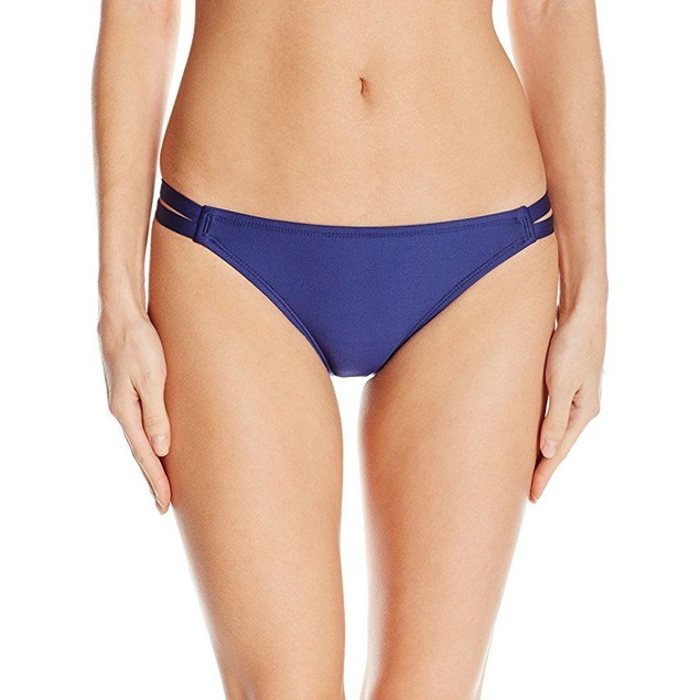 Splendid Women's Stitch Solid Strap Bikini Bottom, Navy, SZ: S