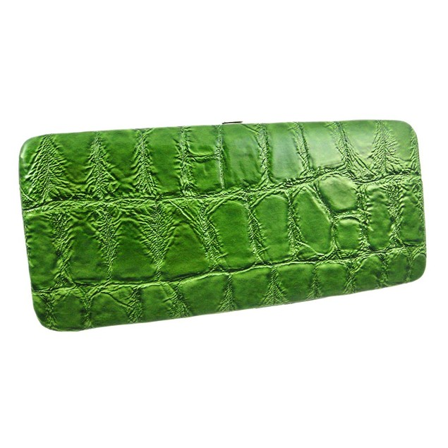 Purple Mock Croc Checkbook Wallet Clutch Womens Wallets