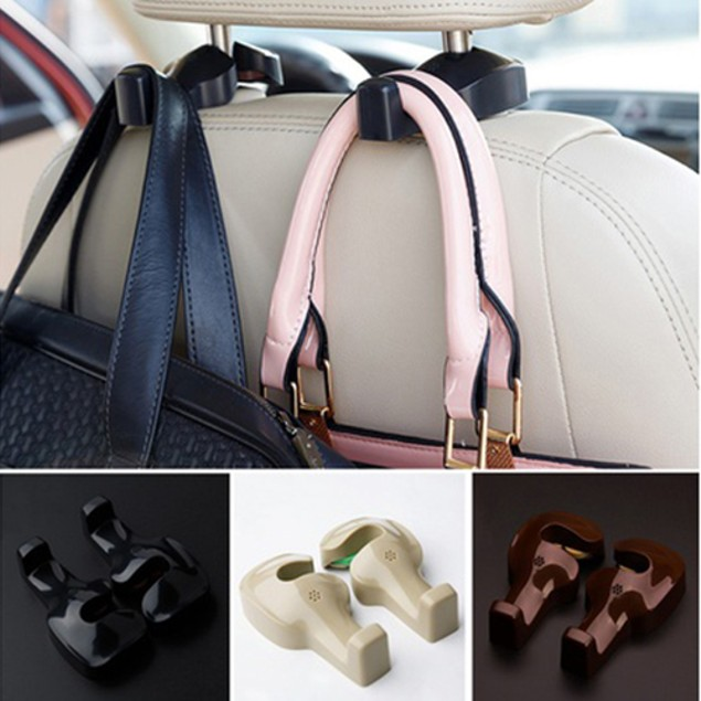 2-Piece Car Seat Back Headrest Luggage Bags Hanger
