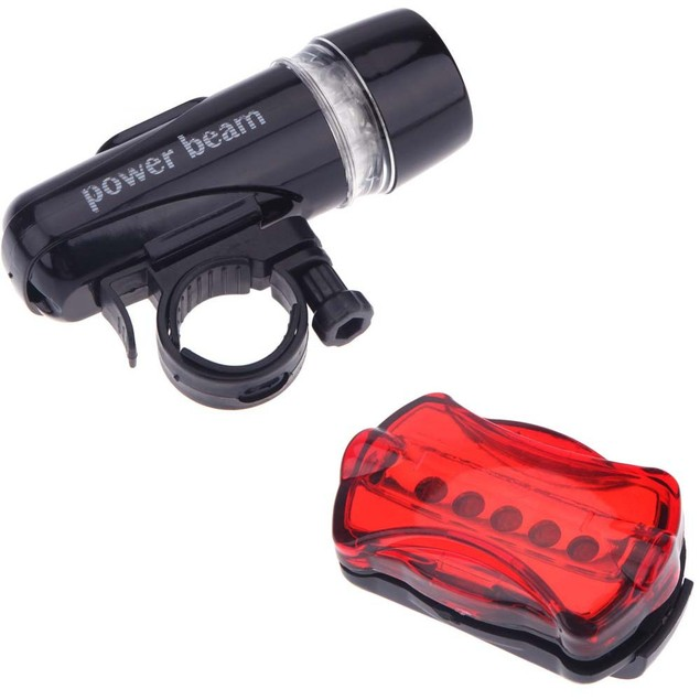 5 LED Lamp Bike Front Head Light + Rear Safety Flashlight