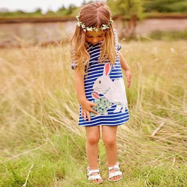 Girls Rabbit Short Sleeves Dress Length To The Knee Dresses