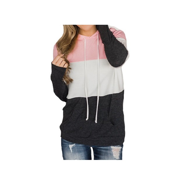 Color Block Long Sleeve Hoodie with Pockets