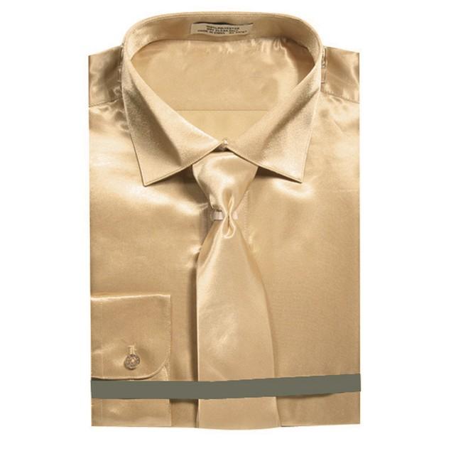 Men's Slim Fit Satin Solid Dress Shirt with Neck Tie