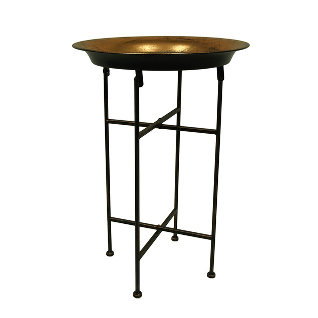 16 1/2 Inch Diameter Copper Finish Bowl Style Accent Tables