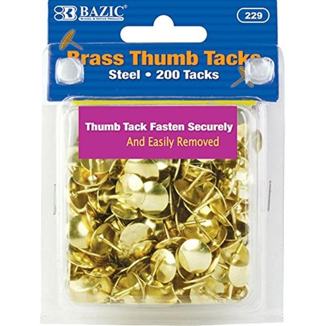 Gold Thumb Tacks. 200 Push Pins for Crafts and Office Organization