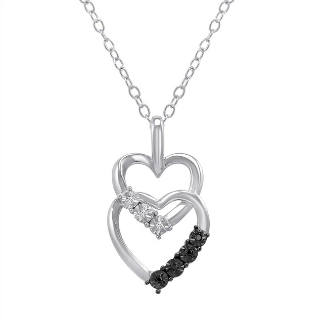 Black and White Diamond Heart Pendant Necklace in .925 Sterling Silver