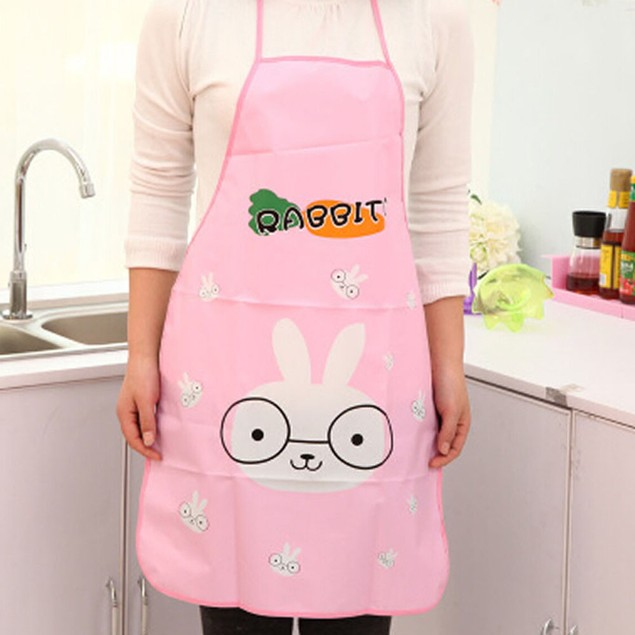 1PC Kitchen Cartoon Waterproof Cooking Bib Apron For Women