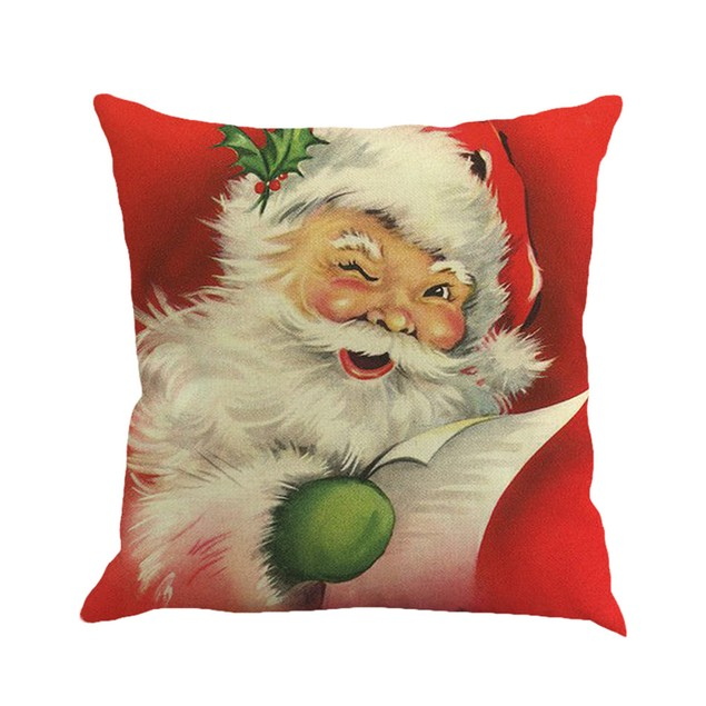 Christmas Printing Dyeing Sofa Bed Home Decor Pillow Cover Cushion Cover J