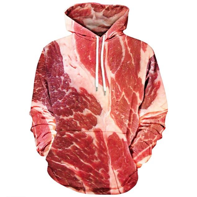 Unisex 3D Printed Raw Meat Pullover Long Sleeve Hooded Sweatshirt Tops