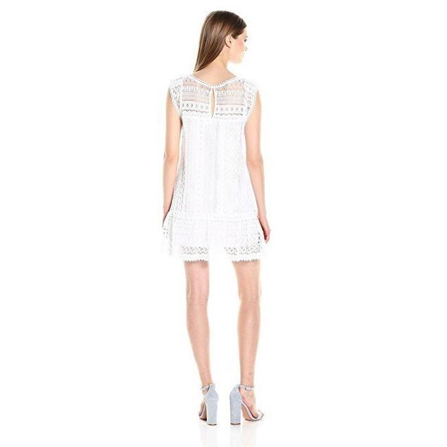 BB Dakota Women's Milo Crochet Lace Shift Dress, Optic White, Small