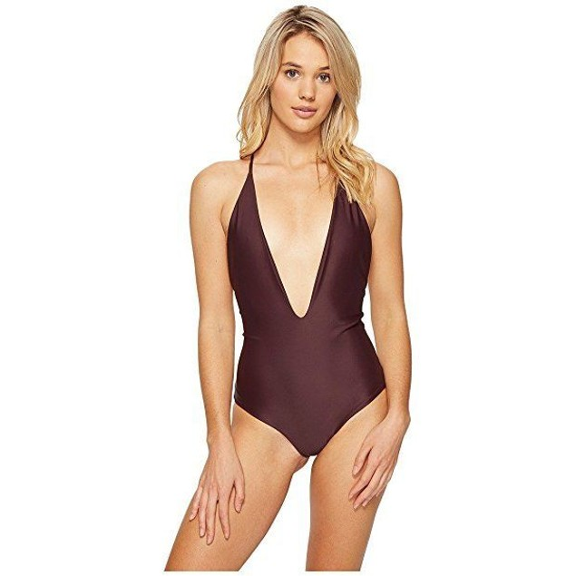 Mikoh Women's Africa One Piece Plunge Swimsuit Wine SIZE LARGE