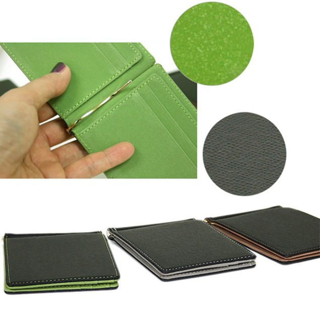 Ultra-Thin Magic Money Clip Faux Leather Card Holder Bifold Mini Wallet