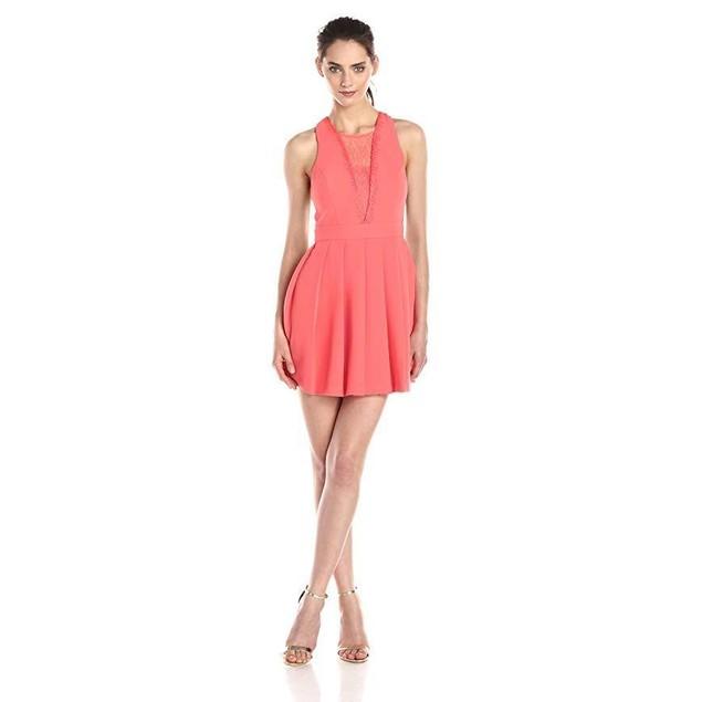 BCBGeneration Women's Deep V Dress, Salmon Wine, 10