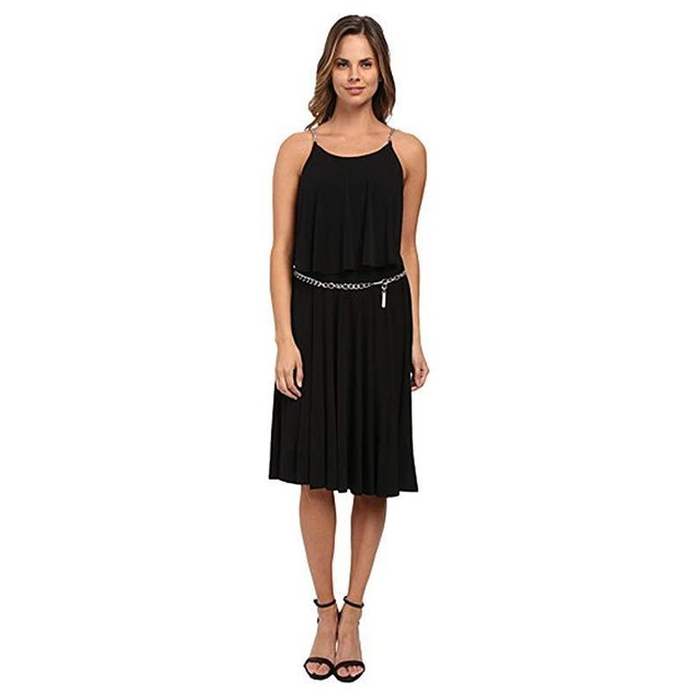 MICHAEL Michael Kors Women's Chain StripeTiered Dress Black/Silver 8