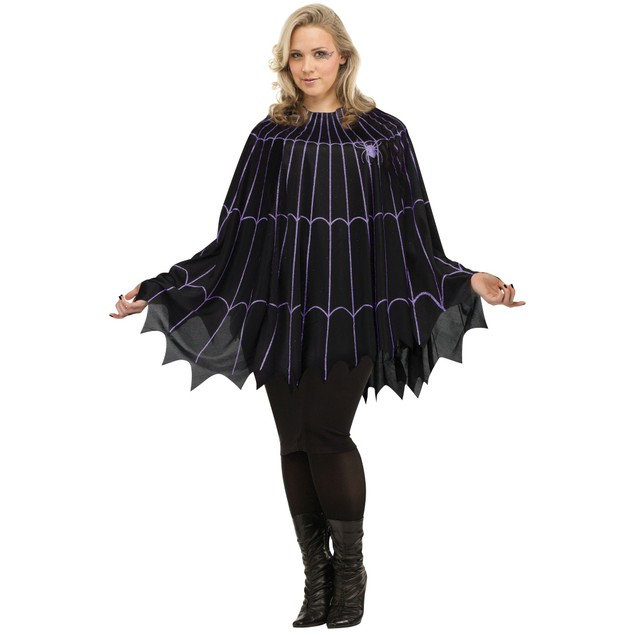 Spider Web Poncho Black/Purple Solid Pack Plus Size Halloween Costume Sexy