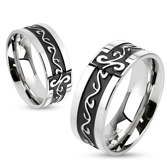 Grooved Tribal Swirls Stainless Steel Black IP Band Ring