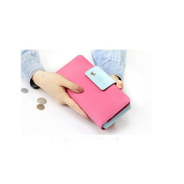 Birds Clutch Wallet Leather Case Long Zip Button Card Purse Handbag