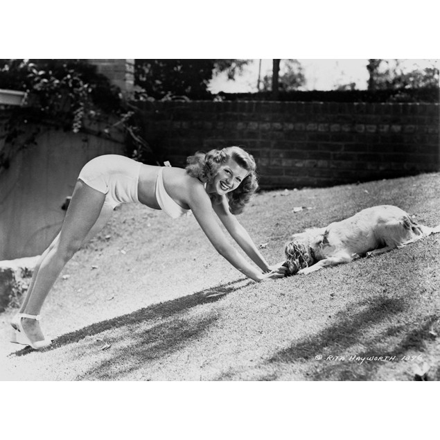 Rita Hayworth Sexy Pose with a Dog Poster