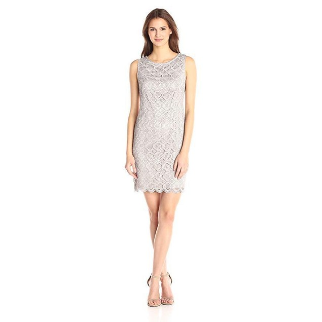 Vince Camuto Women's Sleeveless Lace Shift, Taupe, 8