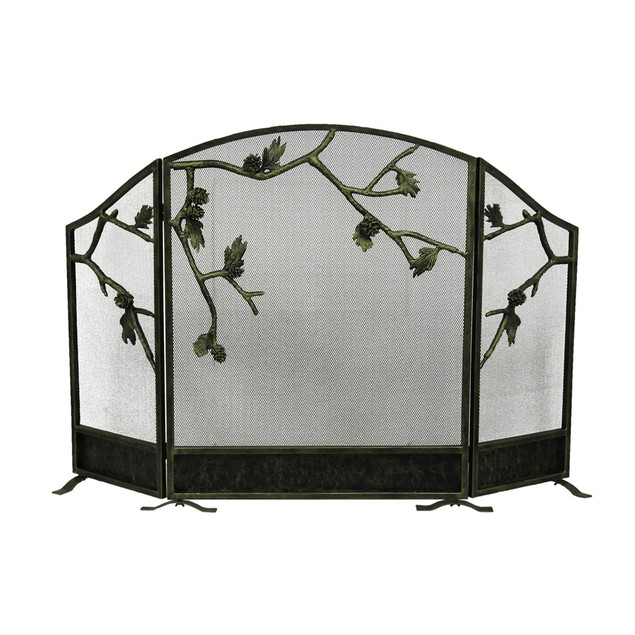 Weathered Brown Lodge Style Pinecone Fireplace Fireplace Screens