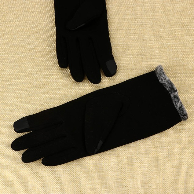 Women Cashmere Keep Warm Driving Full Finger Gloves Touch Screen Glove