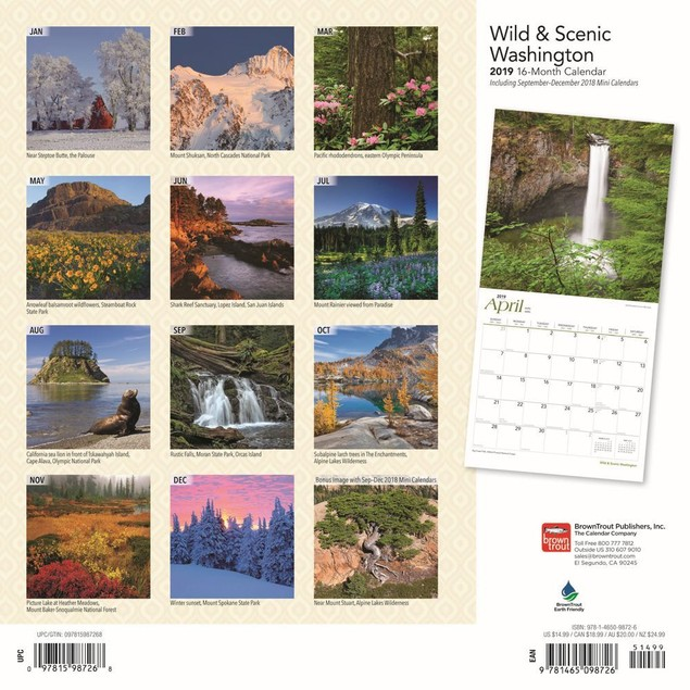 Washington Wild and Scenic Wall Calendar, More U.S. States by Calendars
