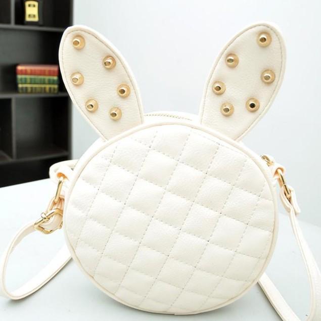 Women Girl Rabbit Ear Round Leather Handbag Shoulder Messenger Bag