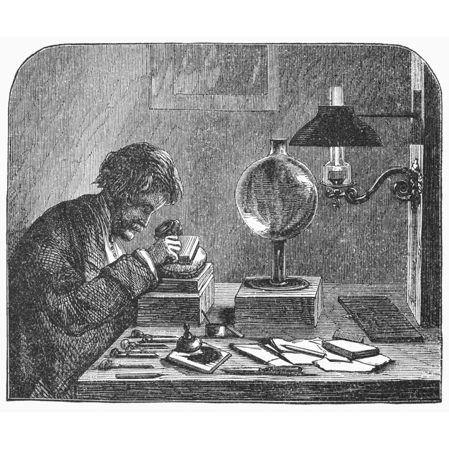 Wood Engraver, 1858. /Na Wood Engraver At Work. Wood Engraving, 1858. Poste