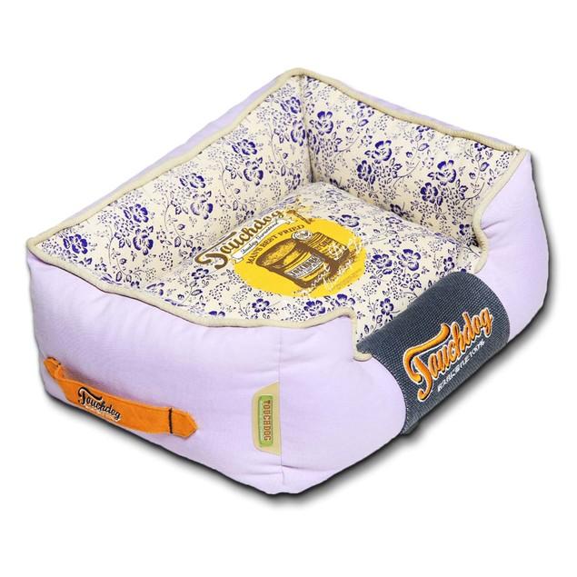 Touchdog Floral-Galore Vintage printed Plush Rectangular Dog Bed