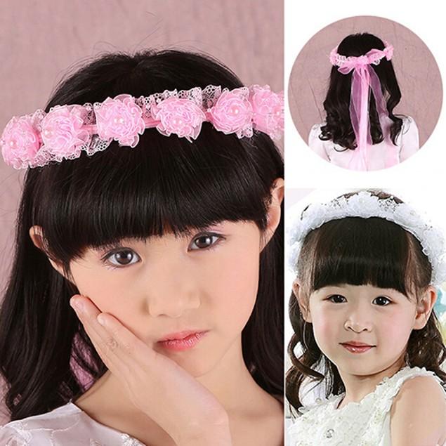 Girl Faux Pearls Lace Flower Headband