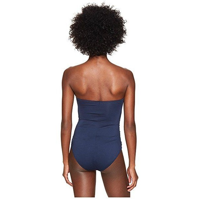 NWT Letarte Women's Bandeau One-Piece Dusty Navy Swimsuit SIZE SMALL
