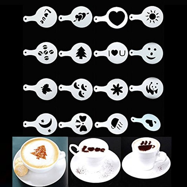 16X Creative Nice Coffee Barista Stencils Template Strew Pad Duster Art