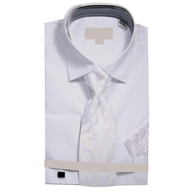 Men's Metallic French Cuff Dress Shirt w Tie Hanky Cufflinks
