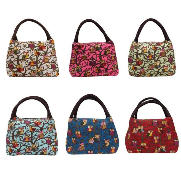 Owl Thermal Insulated Tote Picnic Lunch Cool Bag Cooler Box Handbag Pouch