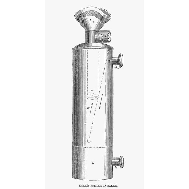 Ether Inhaler, 1847. /Nsmee'S Ether Inhaler. Line Engraving, English, 1847.