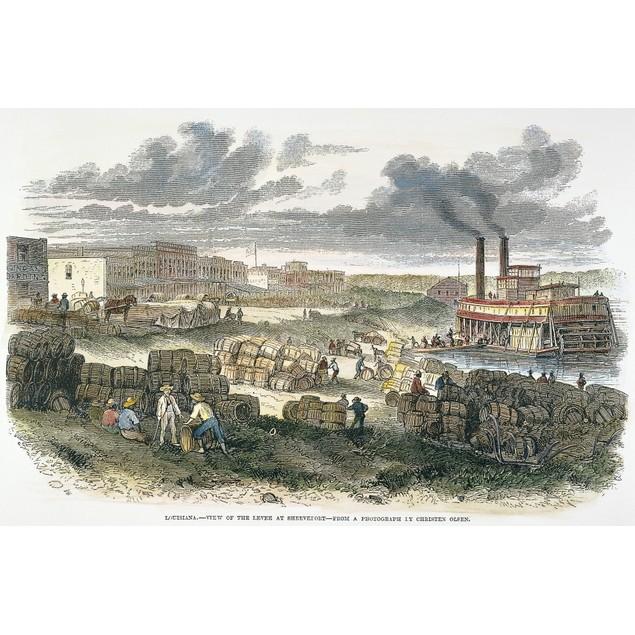 Shreveport Levee, 1872. /Nloading Barrels Of Molasses At The Levee At Shrev