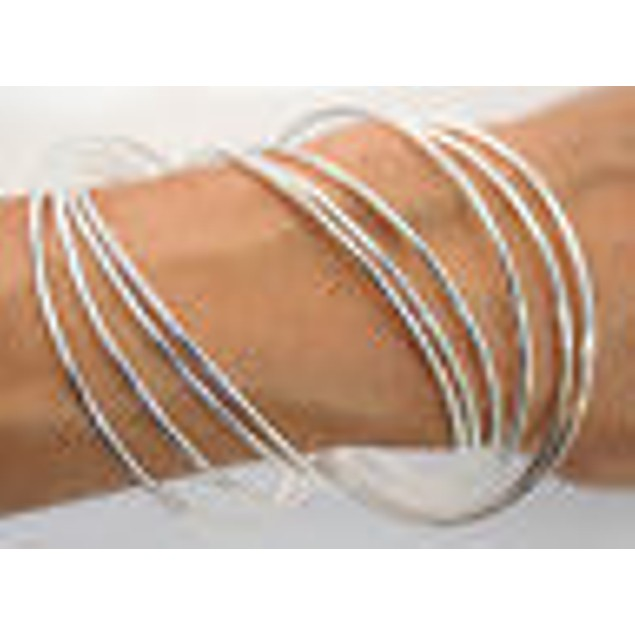 eli k Womens Sterling Silver 925 Plate Interlocking Skinny Bangles Bracelet