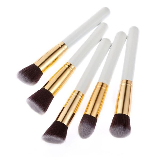 5PCS Cosmetic Set Eyeshadow Foundation Wood Pro MakeUp Brush Tools