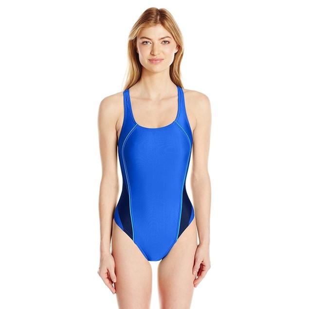 Speedo Women's Pro Lt Drop Back One Piece Swimsuit, Radiant Blue, Size