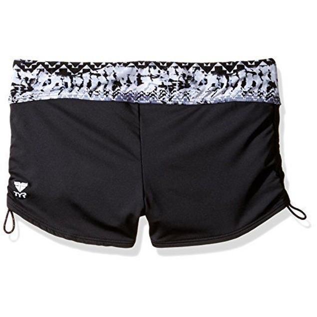 Wmns TYR Emerald Lake Boy Shorts, Black/Grey, SZ: Medium